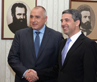 Prime minister and the president of Bulgaria shaking hands